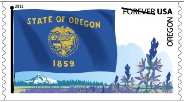 Forever stamp featuring Oregon state flag