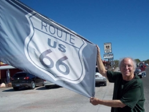 Michael Orelove on the way to Flagstaff, AZ with a US Route 66 flag.