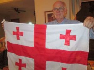 """Georgia on My Mind"" -- Sam Oakland and one of his many cross-themed flags"