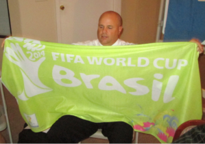 John Niggley recalls the recent 2014 FIFA World Cup with a licensed flag.