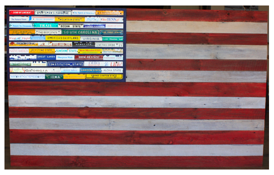 American Flag with License Plate Logos, by Scott Hanson