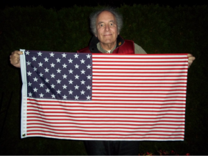 Michael Orelove and his 50-star, 50-stripe US flag.