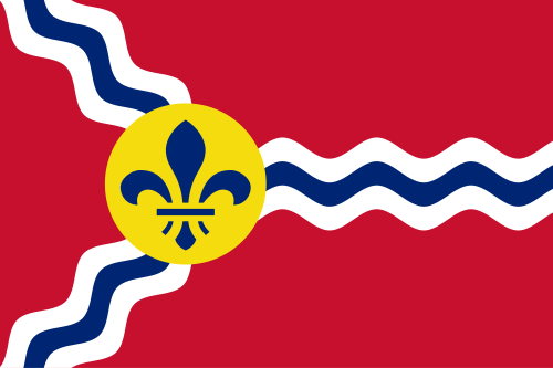 Flag of St. Louis, Missouri.  Designed in 1962 by art history professor Theodore Sizer (1892-1967).