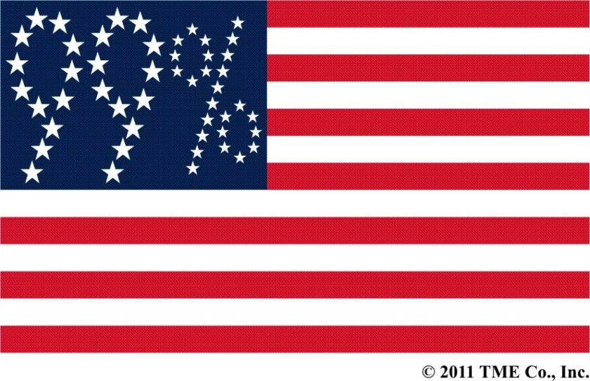 "TME's ""Occupy"" U.S. flag variant, with the 50 stars in the canton rearranged to say ""99%""; the ""%"" made up of smaller stars."