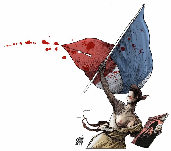 Liberty Leading the Press Freedom Pen, by Angel Boligan, in El Universal, Mexico City, January 11, 2015.