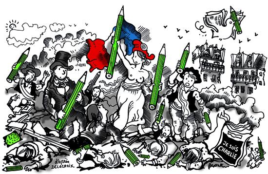 LA LIBERTÉ SERA TOUJOURS LA PLUS FORTE / FREEDOM WILL ALWAYS BE THE STRONGEST by Plantu, in Le Monde, January 9, 2015.