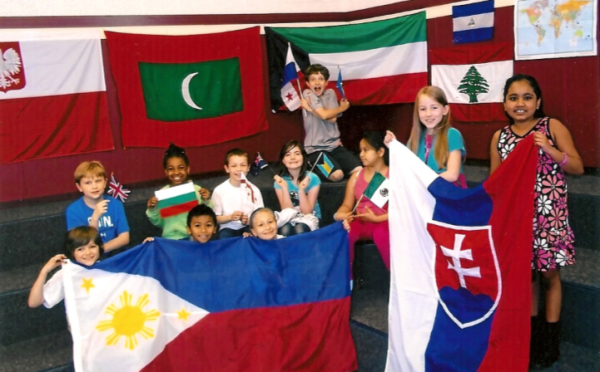 Students at Troutdale Elementary School with Michael's flags.
