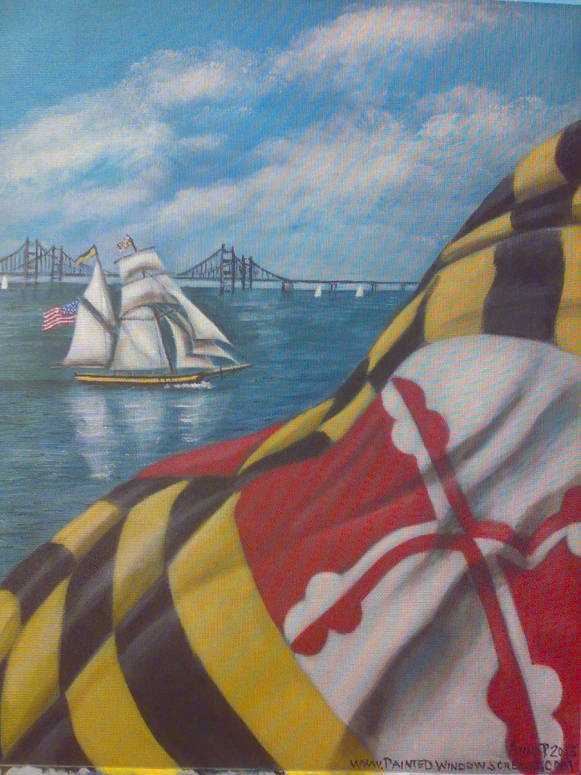 Anna Pasqualucci:  Pride and the Flag, Federal Hill.  Painted window screen.