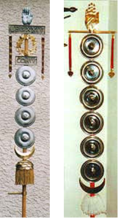 The Signa of Legion XXIV (PA, left) andLegion XX (MD, right).