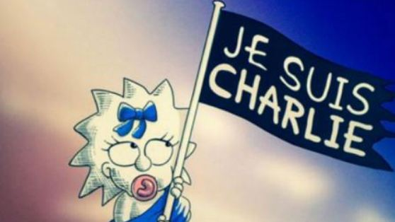 The Simpsons' tribute to victims of the Charlie Hebdo massacre, inserted into a rerun before the last commercial break.