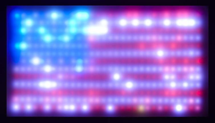 """Leo Villareal's Flag - Americana for LEDs and custom software.""  From ARTLOG."