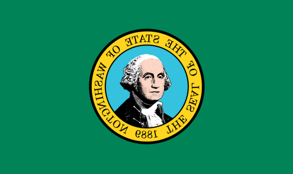 Back (reverse) of the Washington flag if printed on fabric.