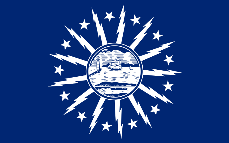 The flag of Buffalo, New York celebrates the city's history in early electrification.  But as a local blogger asks, where is this flag hiding?