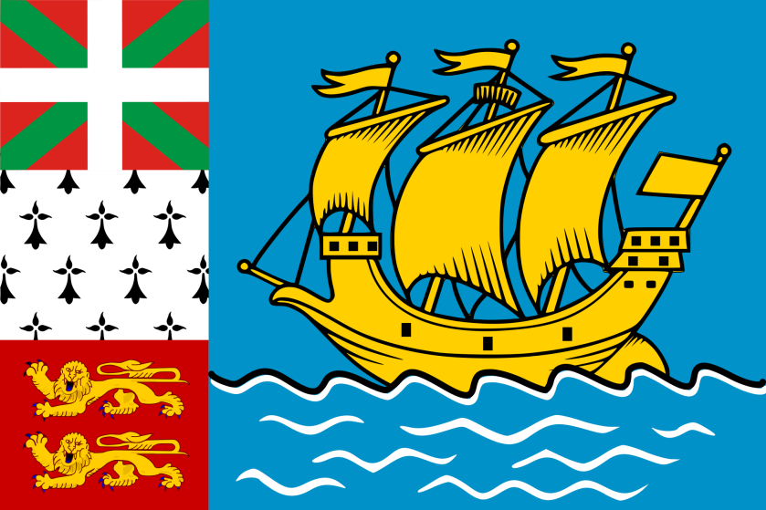 "The tiny island French ""overseas collectivity"" of Saint Pierre and Miquelon, off of Newfoundland, uses (unofficially) a highly complex flag based on its coat of arms.  This is an example of a meta-flag -- a flag made up of other flags."