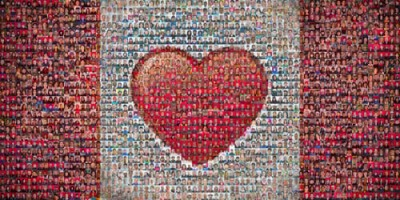 Tim Van Horn took 2010 portraits of Canadians between 10/08 and 1/10, and created this Canadian Heart Flag mosaic.