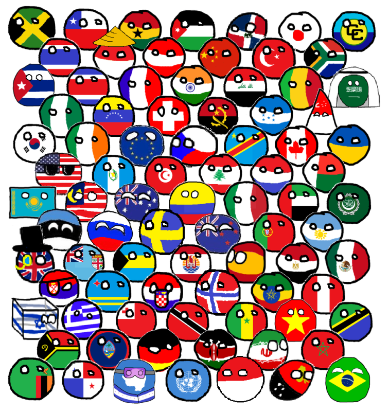A group of countryballs, from polandball.wikia.com/wiki/Polandball_(meme)