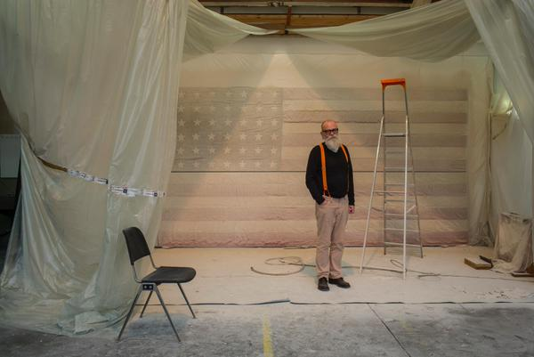 """The final painting for WHITE FLAG at #EstherSchipper. Still wet. "" From the artists's twitter stream."