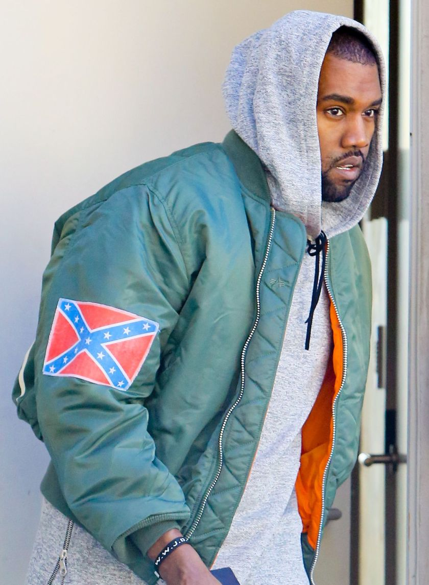 An oft-republished image of Kanye West wearing the Confederate flag on his sleeve.