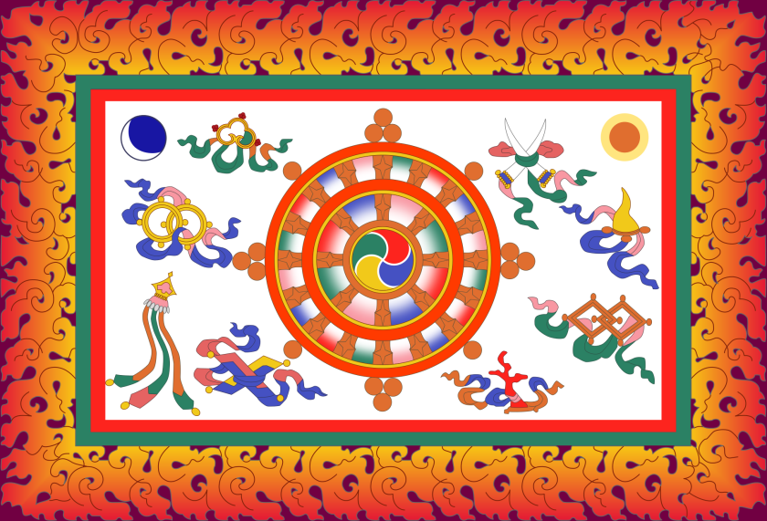A reconstruction of the flag of the king of Sikkim, 1877-1967, is brimming with Buddhist iconography.  Royal flags may lend themselves to complexity, as issues of production cost and popular adoption can be moot.