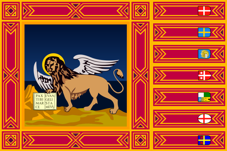 The seven-tailed flag of the Italian region of Veneto, adopted in 1975, is based on the ancient banner of Venice.