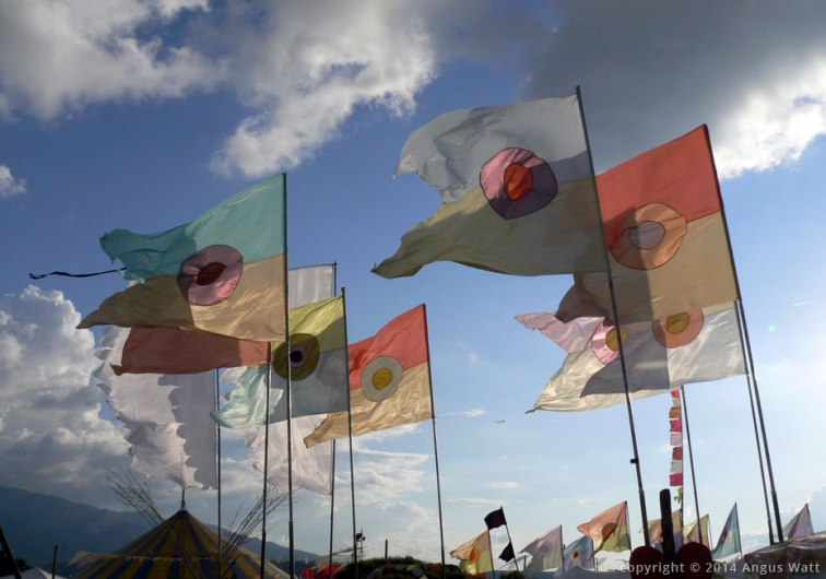 """""""I usually look at the programme, the music and try to complement it with the flags.""""  Photograph from anguswatt.net"""