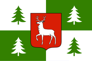 Town flag of Borjomi, Georgia. Source: Wikipedia.