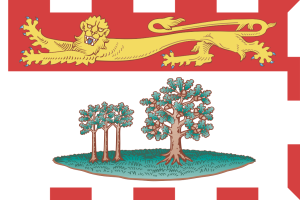 Flag of the Canadian province of Prince Edward Island, adopted 1964. The trees are oaks, the big one on the right representing England, the three saplings on the left the three counties comprising PEI. Source: Wikipedia and FOTW.