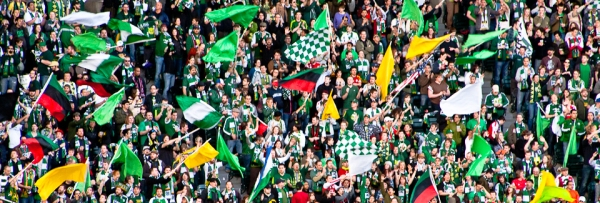 Timbers Army waving all kinds of green, white, and yellow flags in 2011.  From timbersarmy.org front page.