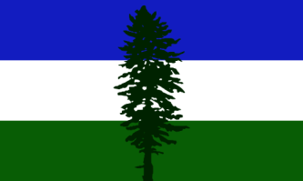 The flag of the bioregion of Cascadia, designed by Alexander Baretich, 1994-1995. Also known as the Doug Flag, it depicts a Douglas Fir (Pseudotsuga menziesii). Source: Wikipedia.