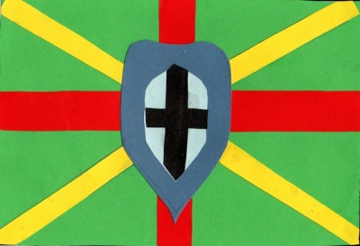 """Our flag has a shield and a sword in the middle to represent the Knight's Templar which is connected to our area. Red stripes are to represent apples that grow in the local orchards. Yellow stripes are to represent the county reaching out to people. A green background represents the fields of our farming community. Our flag is based on the union flag because we are part of Britain."" (Link to entry.)"