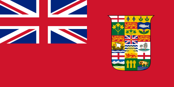 Canadian red ensign showing the seals of nine provinces, 1907 - 1924 (unofficial).