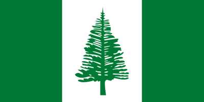 The flag of the Australian territory of Norfolk Island, adopted in 1980. The tree is, appropriately enough, a Norfolk Island Pine (Araucaria heterophylla), endemic to the island.