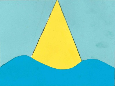 """The yellow triangle is the shard which I can see from my classroom. I chose yellow because the sun light reflects off it. The light blue background represents the sky on a clear day and the dark blue is the River Thames which flows close to my area."" (Link to entry.)"