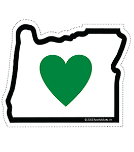 The Heart in Oregon Sticker, created by the Heart Sticker Company.