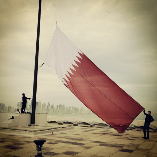 #Qatar #Flag #Doha #dohaskyline #DOH #vexillology #qatarnationalday.  Photo by Jacob Burke (@jpgb34).