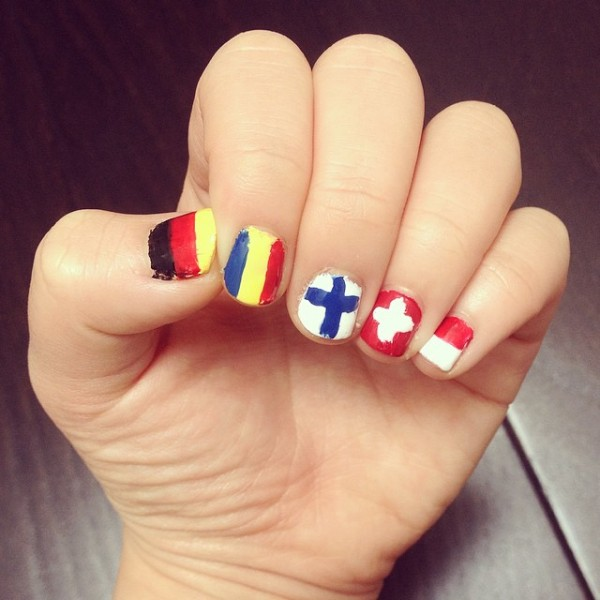 I'm back with more flag nails, but all European this time! #vexillology #vexillophile.  Photo by Lori Ruiz (@lorithelinguist).