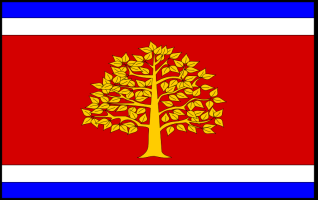 Town flag of Martvili, Georgia, adopted 2011. Source: FOTW and www.martvili-sakrebulo.ge.