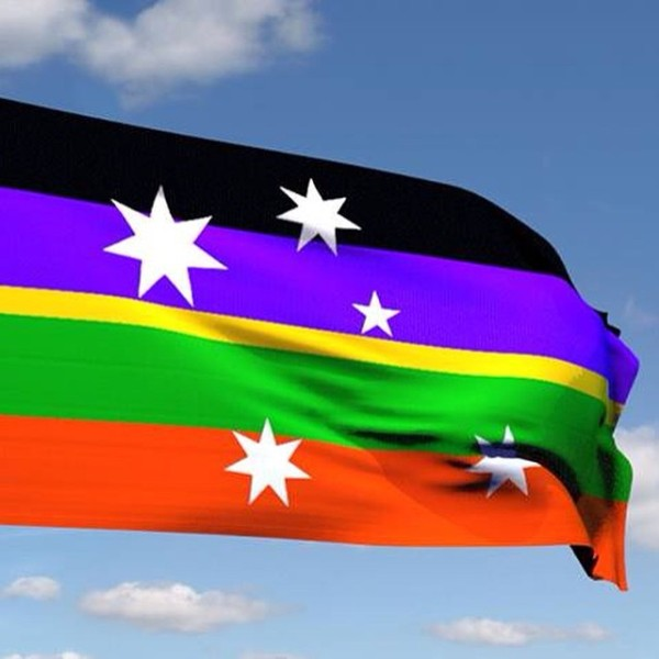 here is the 4 bars straight version of #ulurusky #bluesky max, without arcs #ausflag #design #greenandgold #blackandblue #purple actually #goldline #southerncross #artsparra #vexillology.  Post by @mpathesii.