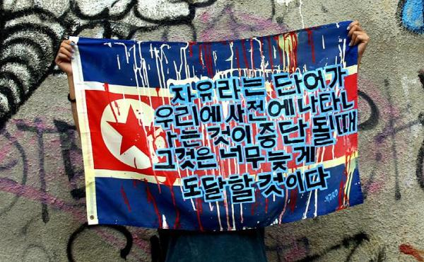 """Hardchick and her flag with the sentence in Korean"" (Artist's webpage: hardchick.deviantart.com)"