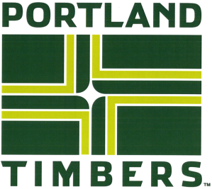 Merchandising graphic incorporating a version of the Portland city flag using Timbers' colors.