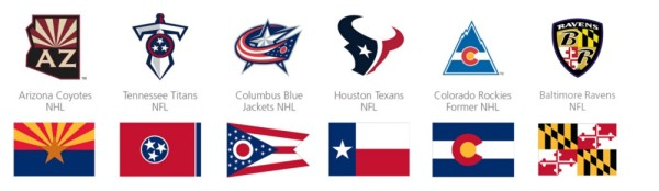 "Michael Green:  ""A selection of major sports teams that incorporate their state flags into their branding."""
