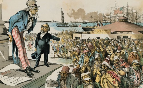 "Where The Blame Lies. Judge (to Uncle Sam)--""If Immigration was properly Restricted you would no longer be troubled with Anarchy, Socialism, the Mafia and such kindred evils!"" 1891"