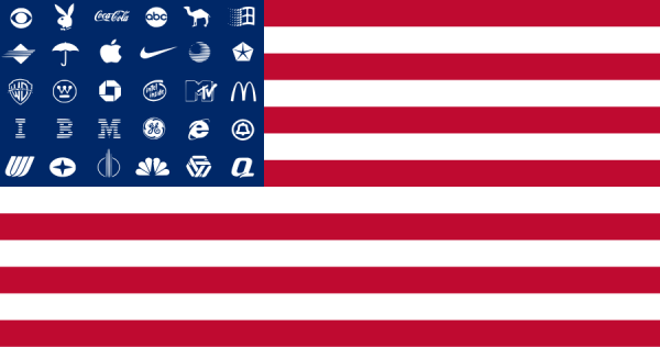 One of Adbusters' American Corporate Flag designs.  These use culture jamming to express dissent.  Unlike the Hotmail flag, the multiple logos here work effectively as they, as a group, meaningfully replace the stars of the Stars and Stripes.