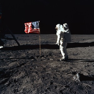 Lunar Module Pilot Buzz Aldrin salutes the Apollo 11 flag.