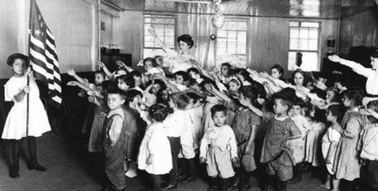 Performing the Bellamy Salute during the Pledge.