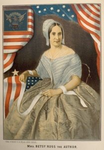 Late 19th century depiction of Betsy Ross, 1752-1836.