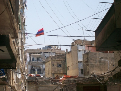 Flying the flag in Bourj Hammoud, an Armenian suburb of Beirut.  (Photo by Nicholas A. Heras, flickr.)