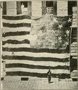 The first known photograph of the Ft. McHenry flag, taken by Preble in 1873 at the Boston Navy Yard.