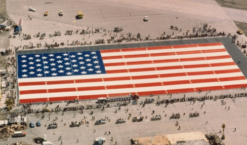 The Great American Flag at its unveiling at the Evansville, IN airport.