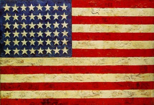 Flag.  Encaustic, oil, and collage on fabric mounted on plywood, three panels.  By Jasper Johns, 1954-55.